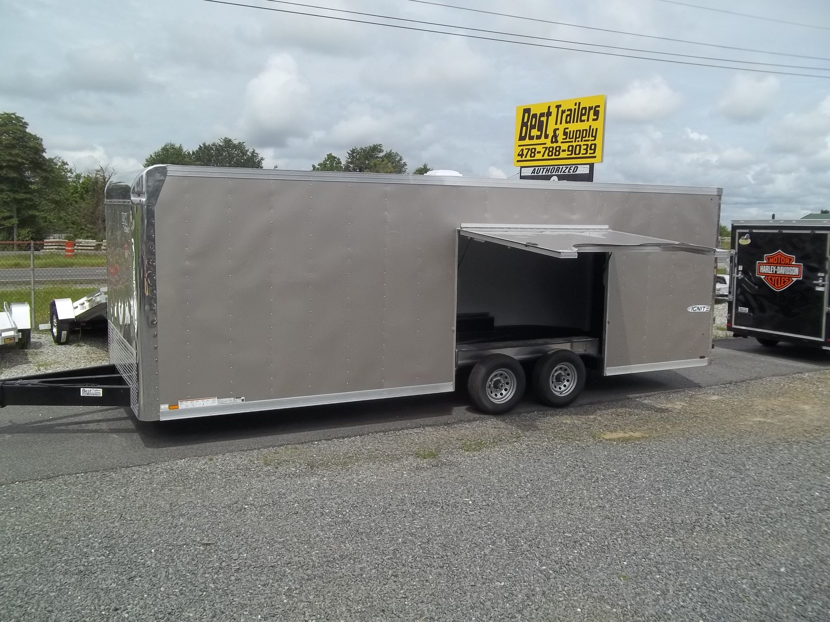 Enclosed 85 X 24 Ft Look Ignite Race Ready Trailer W Ultimate Double Car Foot Gooseneck Flatbed Trailers Escape Door