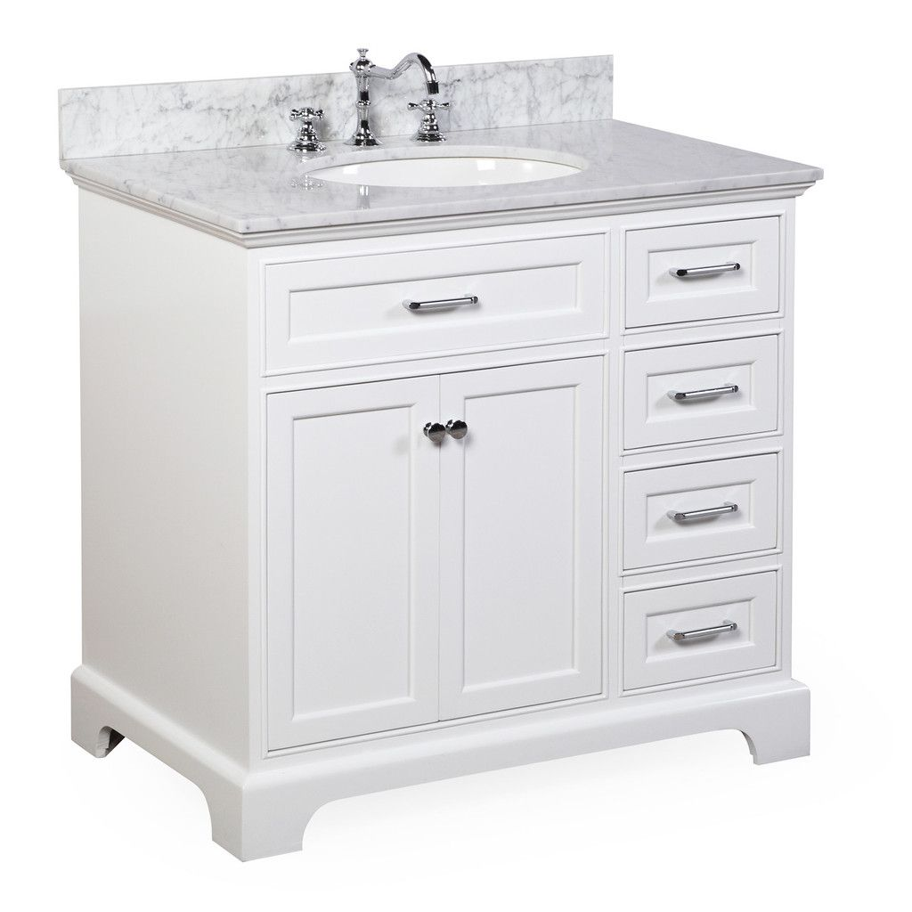 Aria 36-inch Vanity (Carrara/White) | For the Home | Pinterest | 36 on 36 white vanity with top, 36 white single vanity, 36 white cabinets, 36 inch wall mount vanity, utility sink vanity, 36 white kitchen sink, allen roth 36-in vanity, 36 inch white vanity, pottery barn double sink vanity,