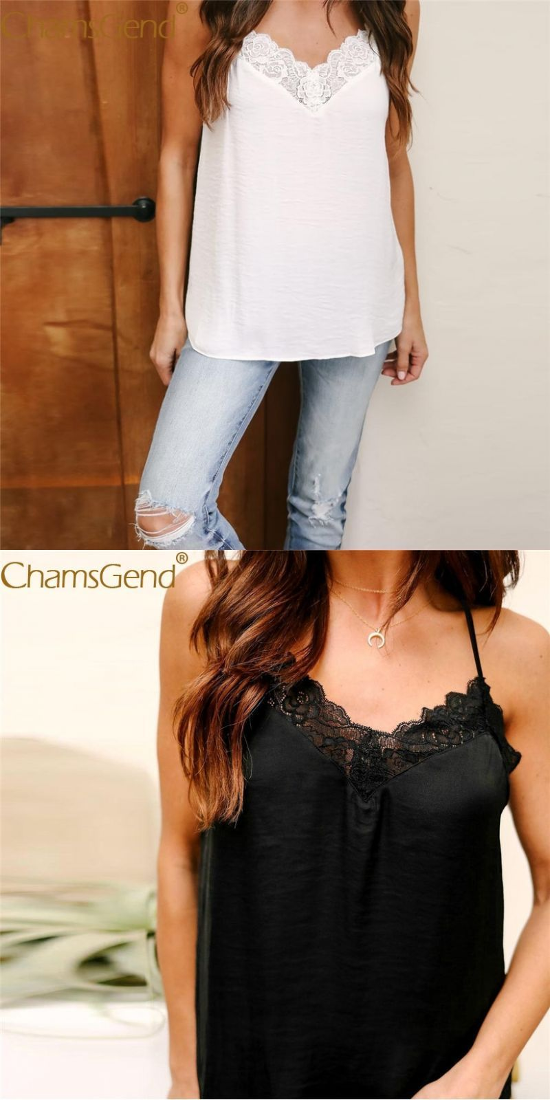 e4a9af1c09d795 Newly design women sexy lace camis chiffon strap blouse vest tops black  white 80313  polyester