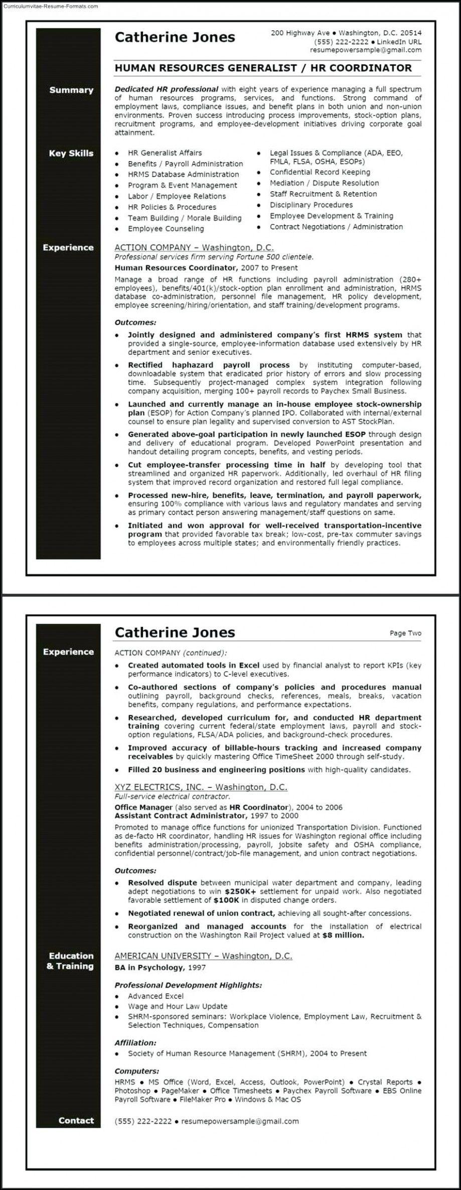 12 pattern hr generalist resume