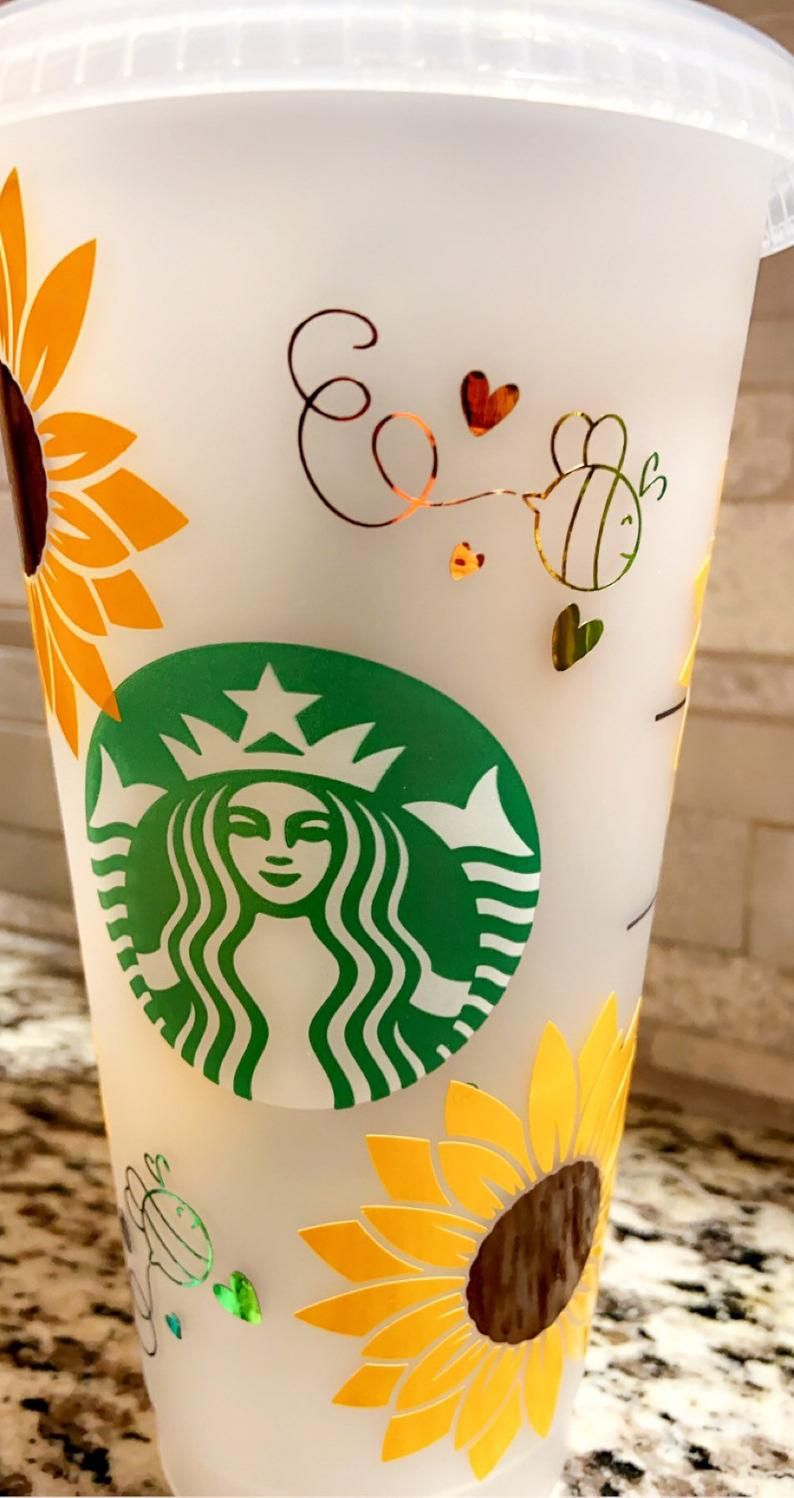 Sunflower Butterfly Starbucks reusable cup 24oz personalized gift birthday gift