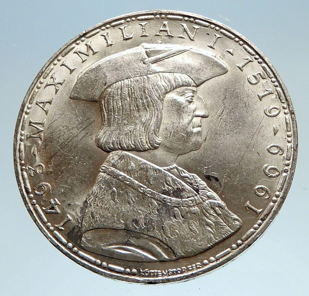 1969 Austria King Maximilian I Antique Silver 50 Schilling