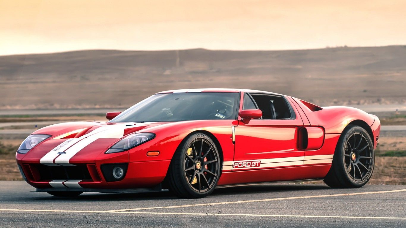 Download Wallpaper Ford Gt Red Black Wheels White Stripes