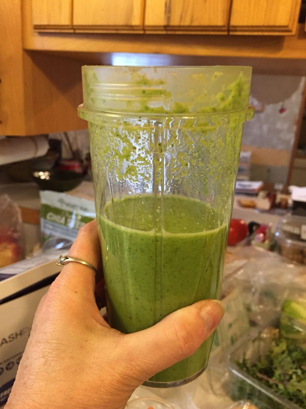 Kale/spinach/Apple/yogurt/honey/chia smoothie!! Yum.