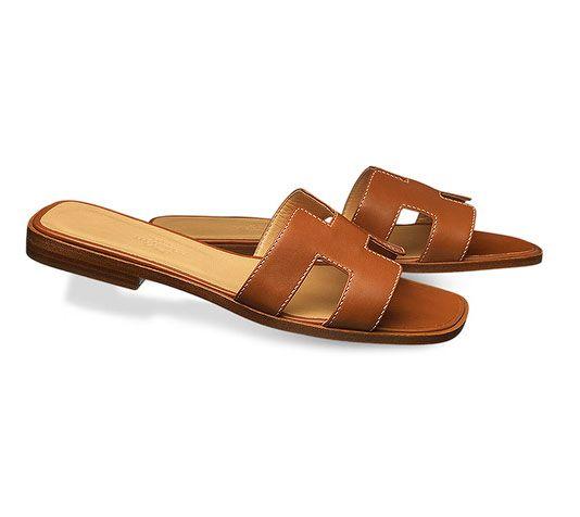 a9c0aff2828d Oran Hermes ladies  sandal in box calfskin with hazelnut lining