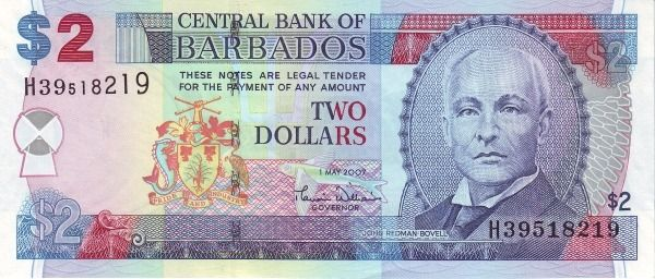 Barbados 2 Dollars Bill