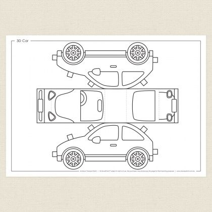 Childrens Colouring In Activity - 3D Car Activity Sheet - CleverPatch Cars  Coloring Pages, Car Activities, Activity Sheets