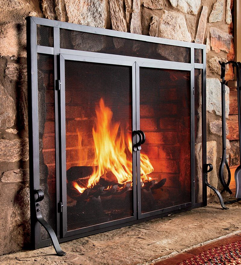 Solid Steel Classic Flat Guard Fire Screens With Doors Fireplace