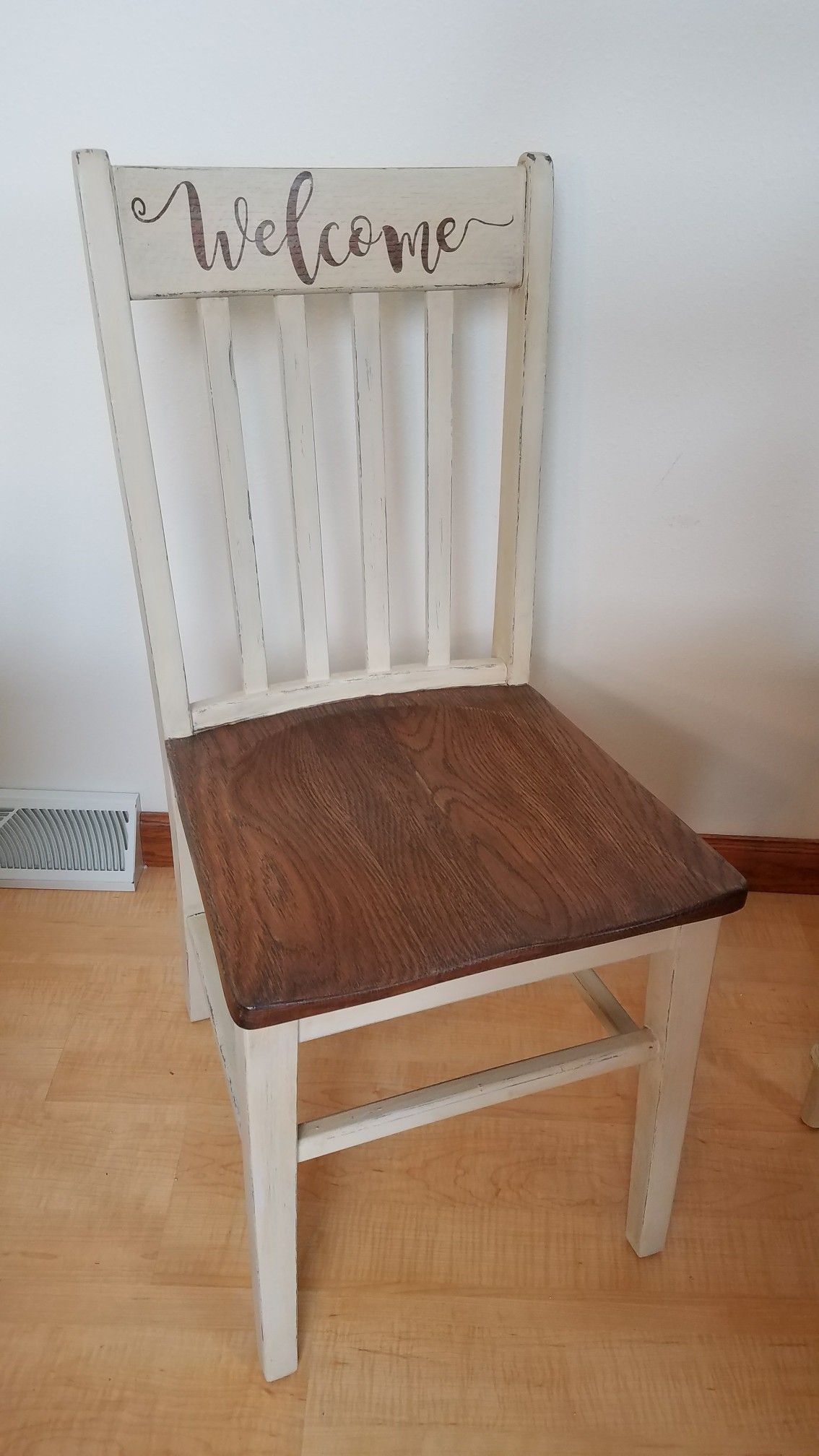 Refurbished Chairs Wooden Oak Welcome Chair Refurbished Debs Projects Diy Bedroom