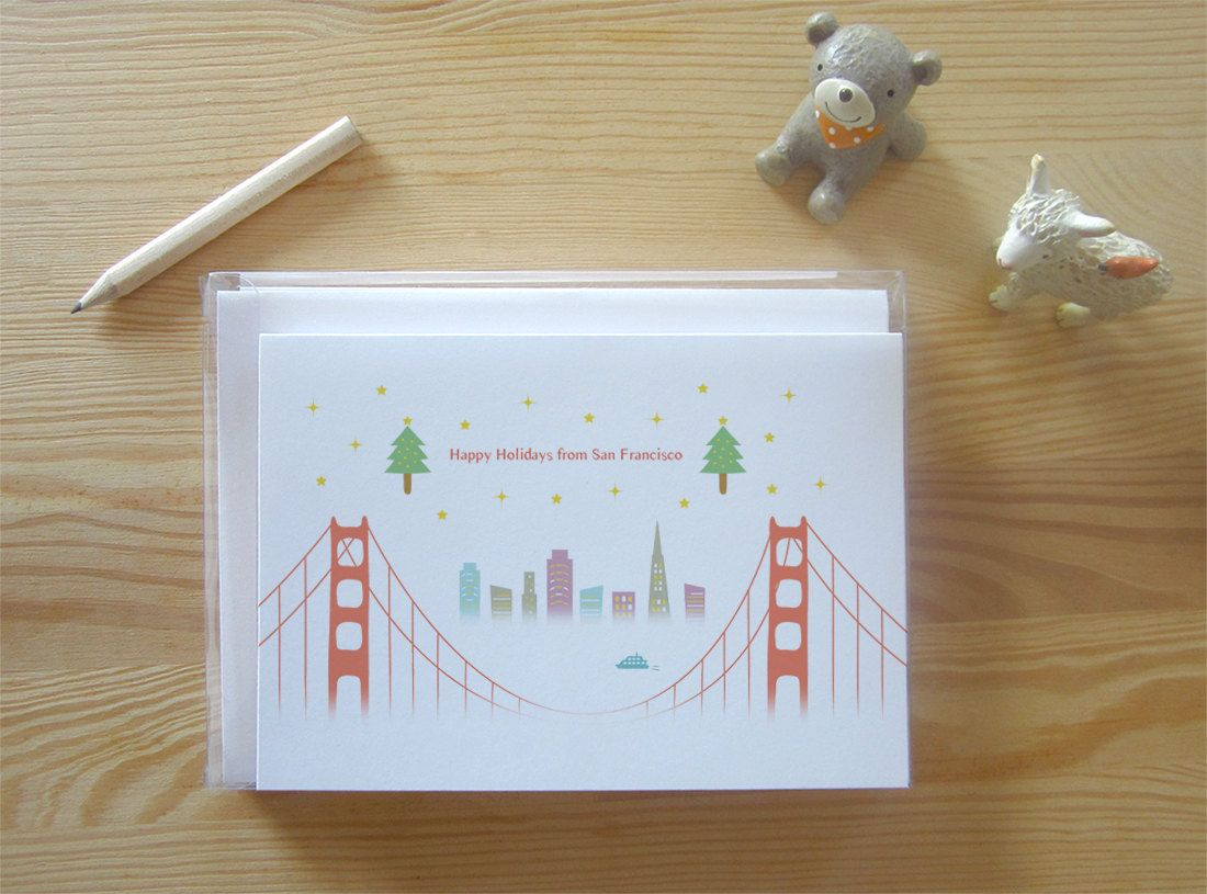 Save the date?? San Francisco Through the Bridge Holiday Cards Set ...