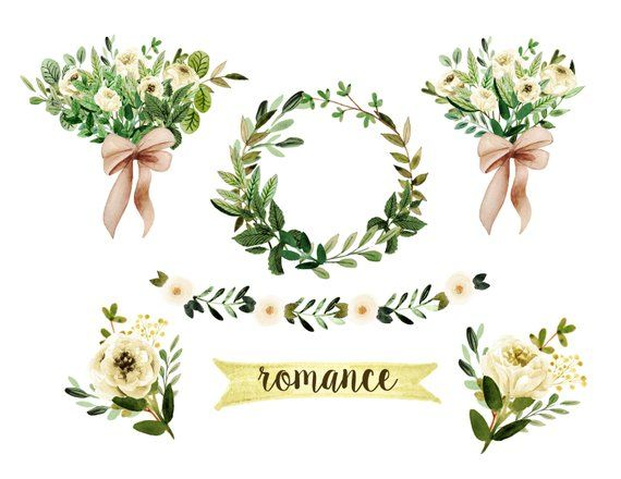 Watercolor wedding. Floral clipart rustic