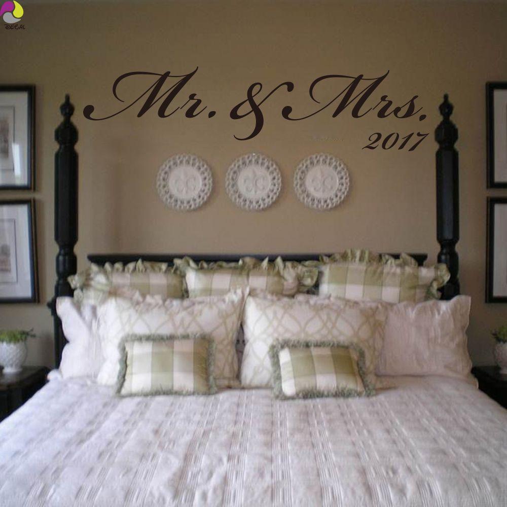 Wedding decoration ideas for bedroom  Mr u Mrs Custom Date Wall Sticker Bedroom Sofa Wedding Room Party