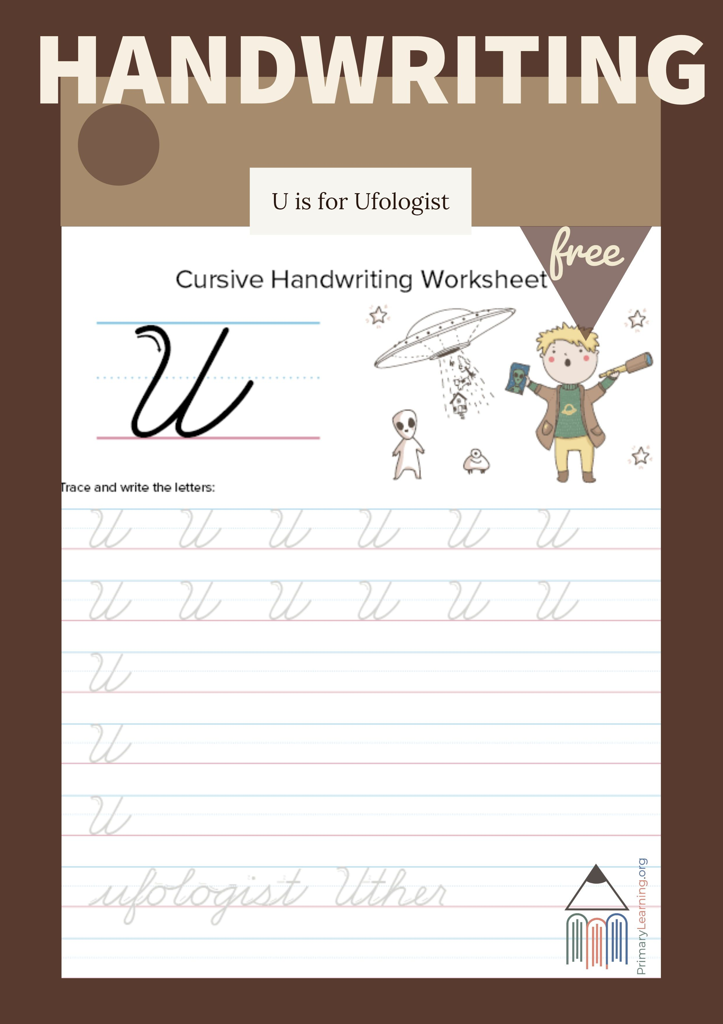 Cursive Uppercase U Worksheet