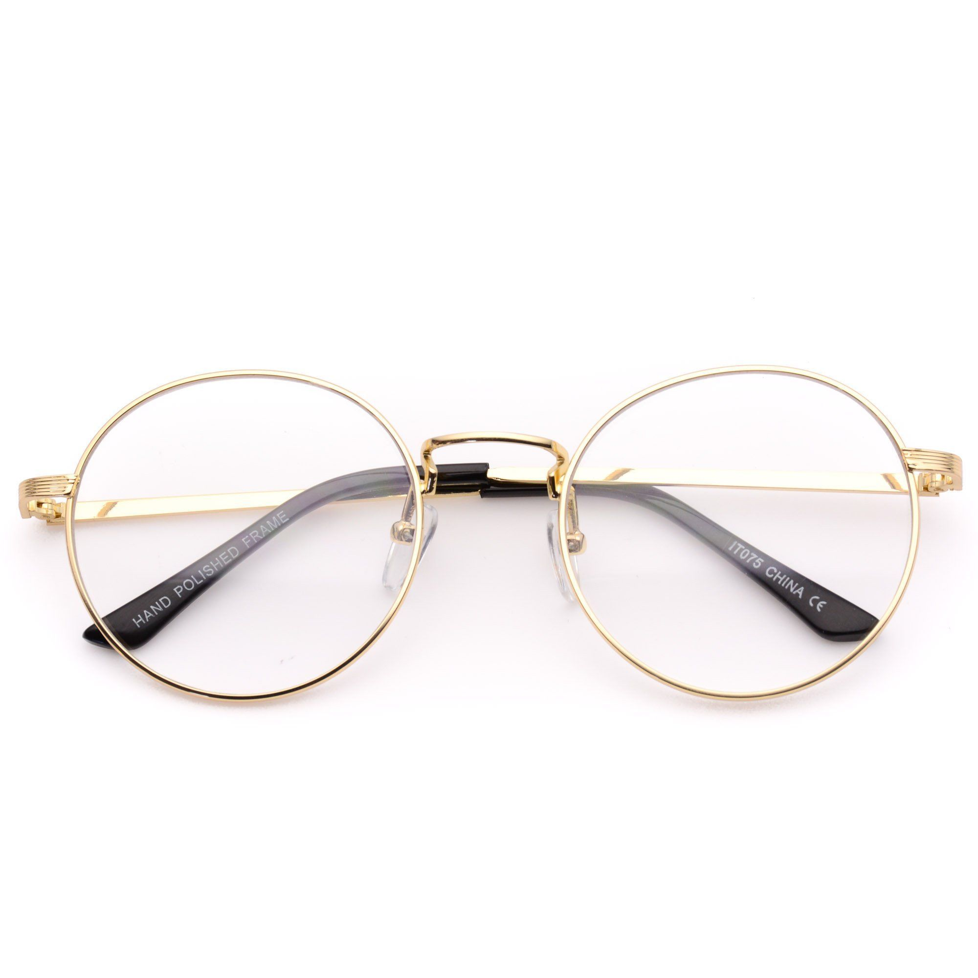 dca0a094862b43 Blaine Round Metal Clear Glasses - Trendy Hipster Round Frame Clear ...