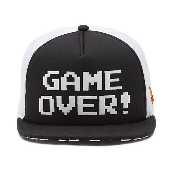 Nintendo Trucker Hat ($24) ❤ liked on Polyvore featuring accessories, hats, game over, trucker hat, snap back hats, vans hat, graphic hats and vans snapback