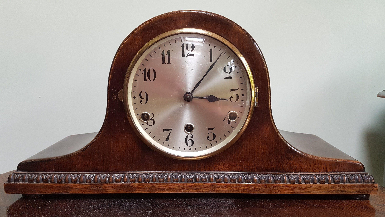Vintage Westminster Chimes Mantel Clock Napoleon Hat Mantel Clock Antique Pendulum Clock By Spareoomv Antique Mantel Clocks Mantel Clock Glass Door Coverings