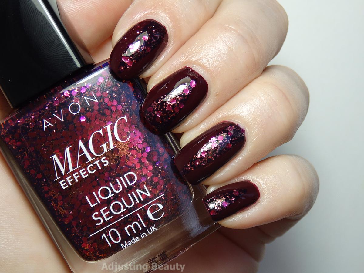 Festive Glittery Manicure with Avon Magic Effects Liquid Sequin Nail ...