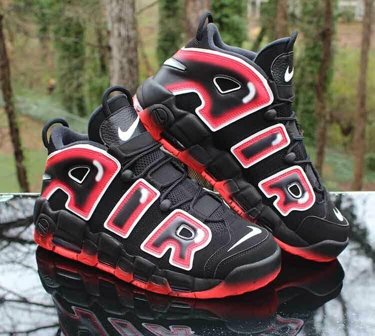 Nike Air More Uptempo 96 Laser Crimson Men's Size 11 Black ...