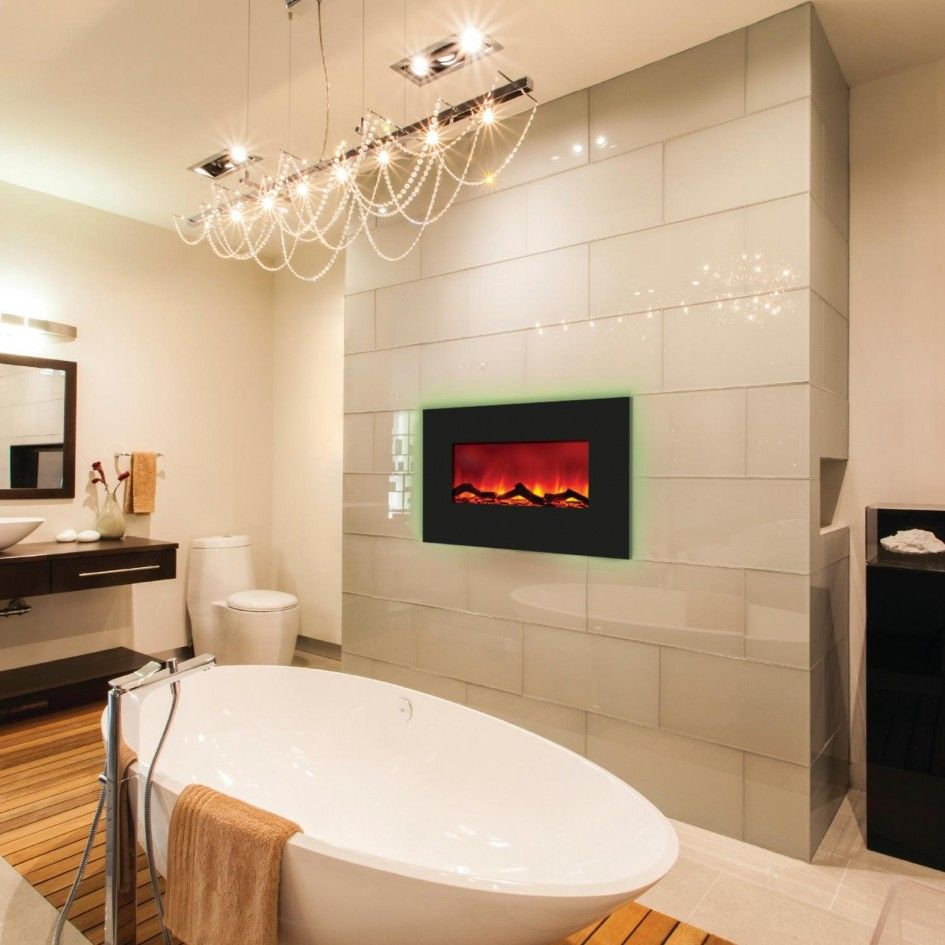 Beautiful Pendant Lamp Above White Stand Alone Bathtub On Modern Bathroom With Wal Built In Electric Fireplace Bathroom Fireplace Wall Mount Electric Fireplace