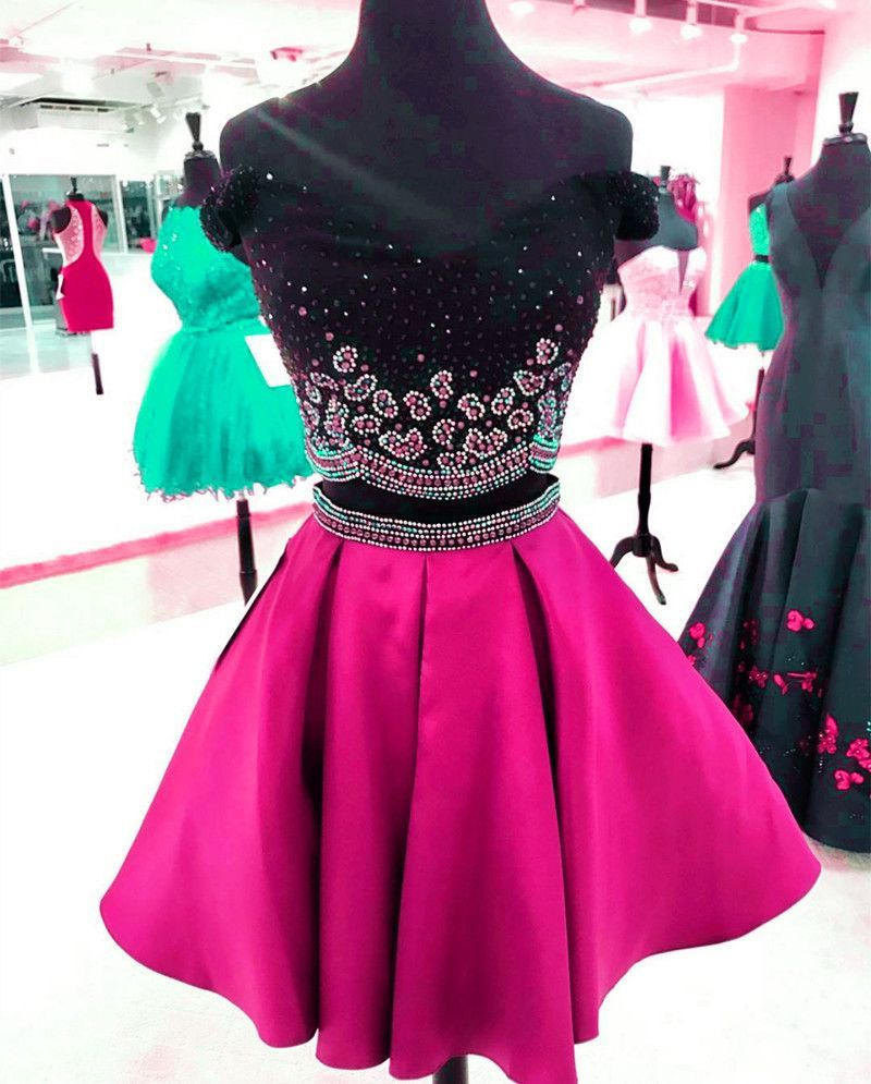Black top dress,beaded dress,two piece homecoming dress,short prom dresses