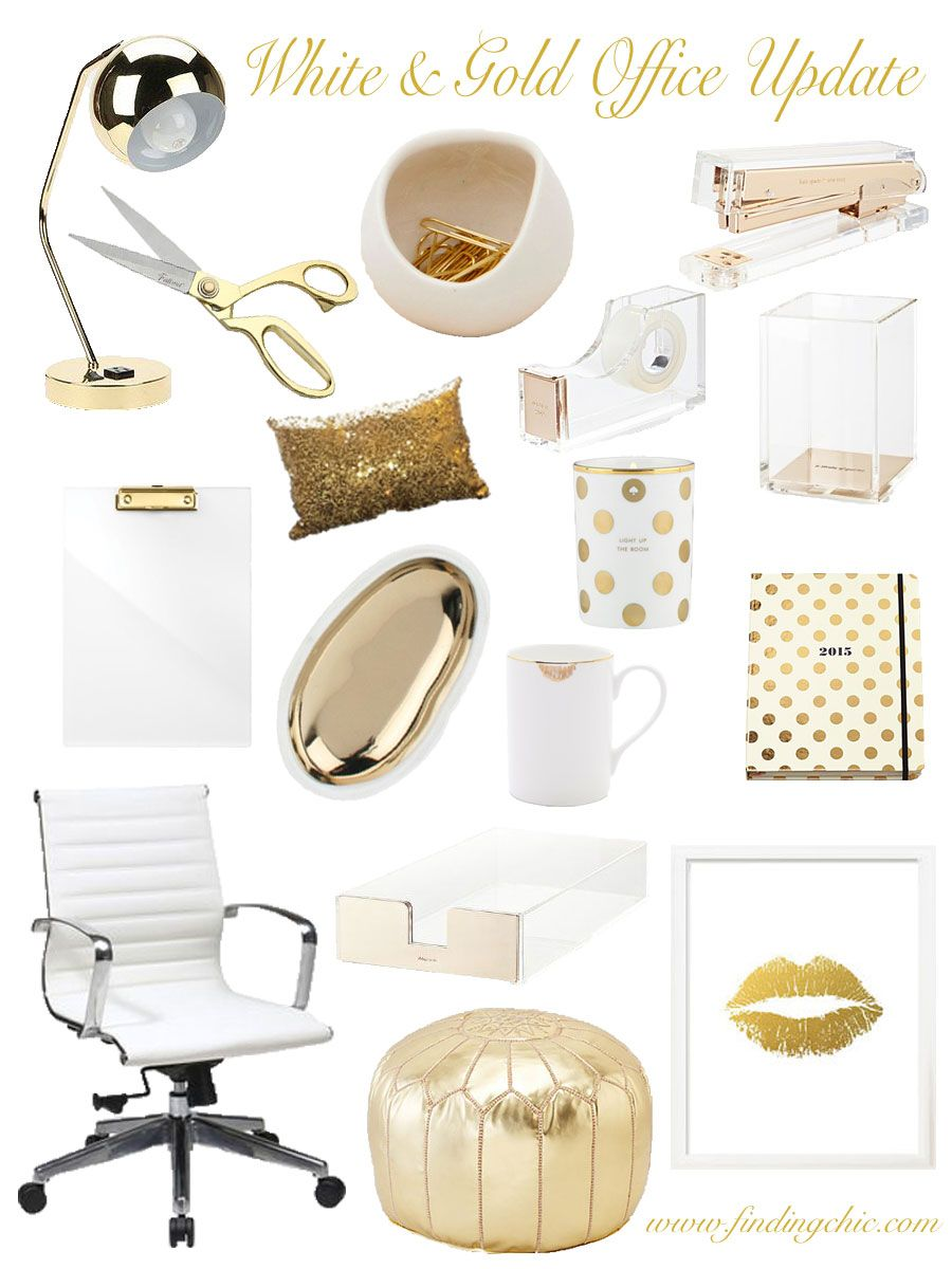 White Black And Gold Office Decor