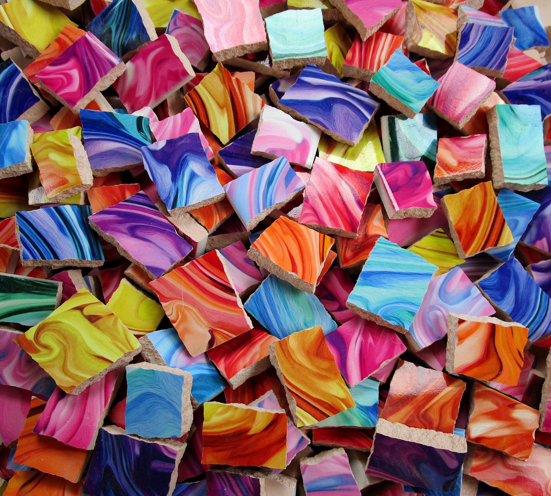 Bulk Mosaic Tiles 2 Pounds Mixed Bright Marble Paint Swirls Mixed Tile Pieces Bulk Mosaic Tiles For Mosaic Art Made Ready To Ship Mosaic Art Mosaic Tiles Mosaic