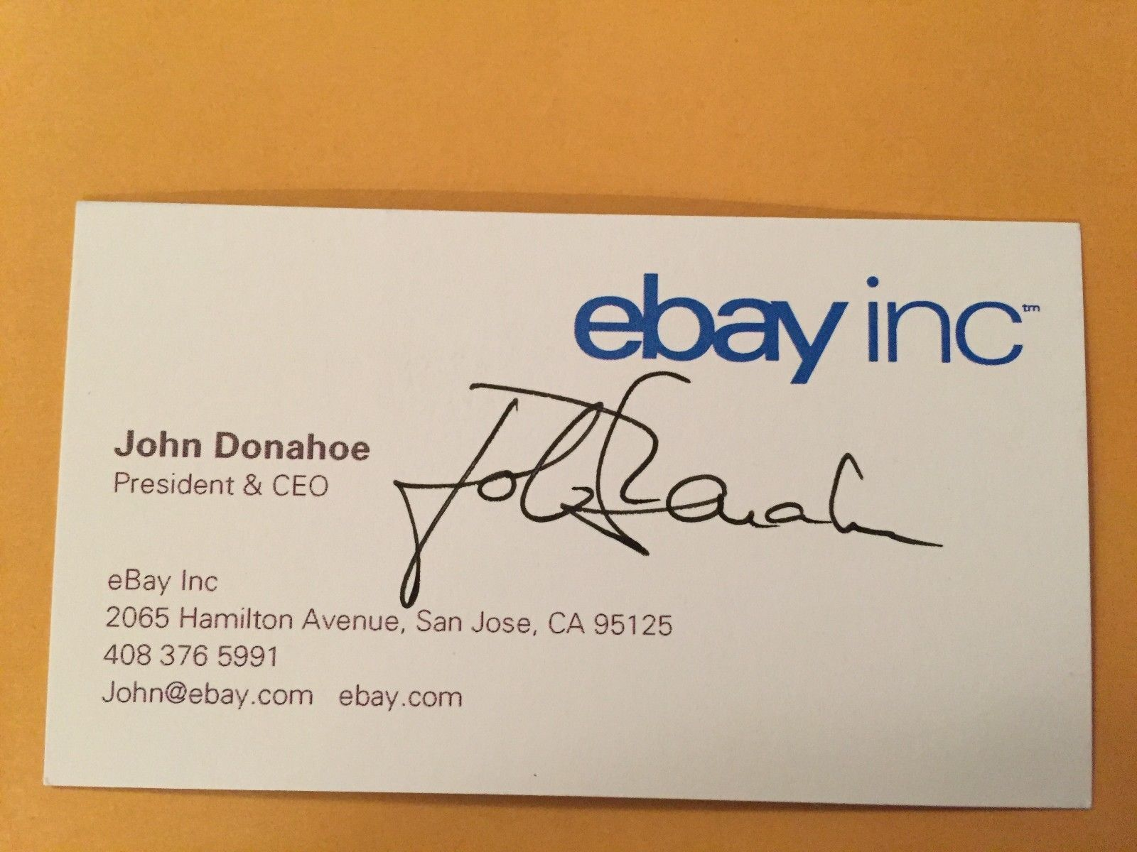 JOHN DONAHOE autograph EBAY President CEO business card signed