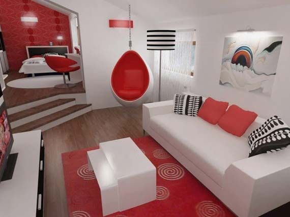 Modern Small Red and White Apartment Interior Design Ideas 1