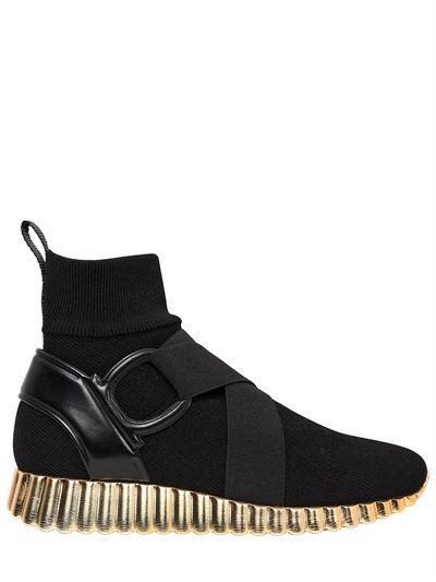 SALVATORE FERRAGAMO 30Mm Noto Sock Knit Sneakers, Black/Gold. # salvatoreferragamo #shoes