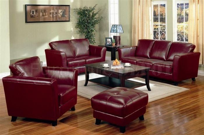 Burgundy red leather sofa set. | Leather living room ...