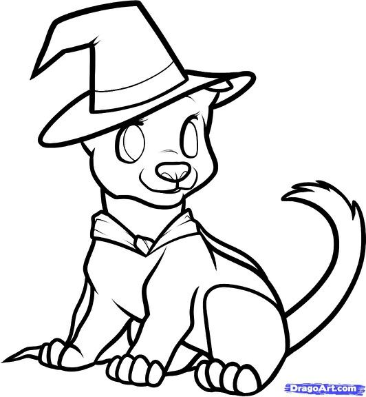 Cute Little Witch Dog With Images Cute Halloween Coloring