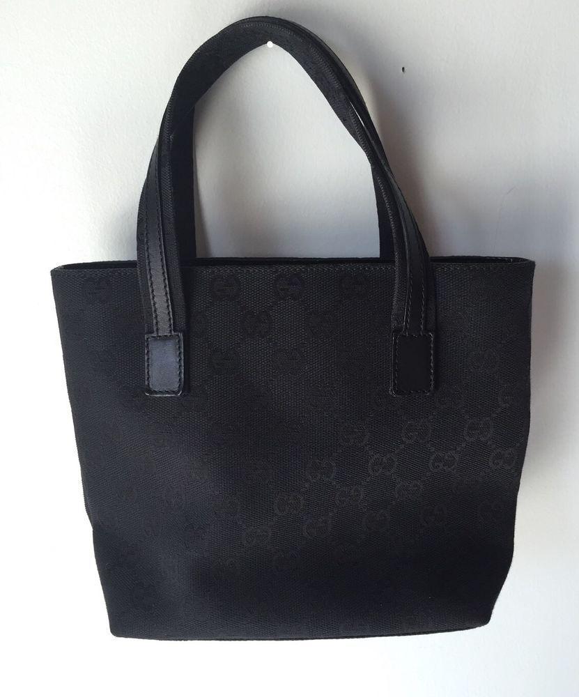 b7f5e5f7ac GUCCI Black Canvas Extra Small Tote Monogram $1,035 #Gucci #TotesShoppers