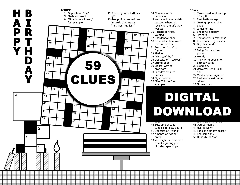Birthday crossword puzzle 59 clues blackwhitedigital