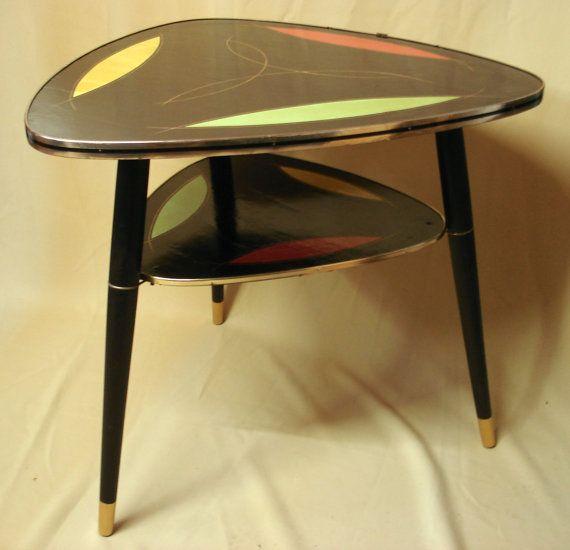 Vintage Triangle Tripod COFFEE TABLE Black & Par