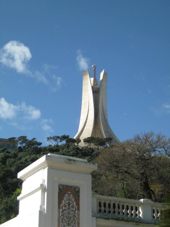 Monument des martyrs in Algeria; an iconic concrete monument commemorating the  Algerian war for independence
