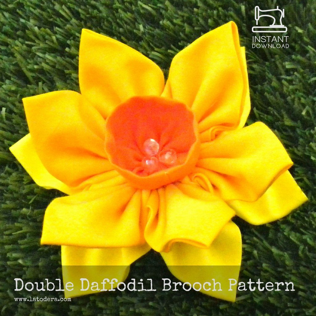 DIY Fabric Flower Daffodil Brooch Tutorial – PDF Sewing Pattern