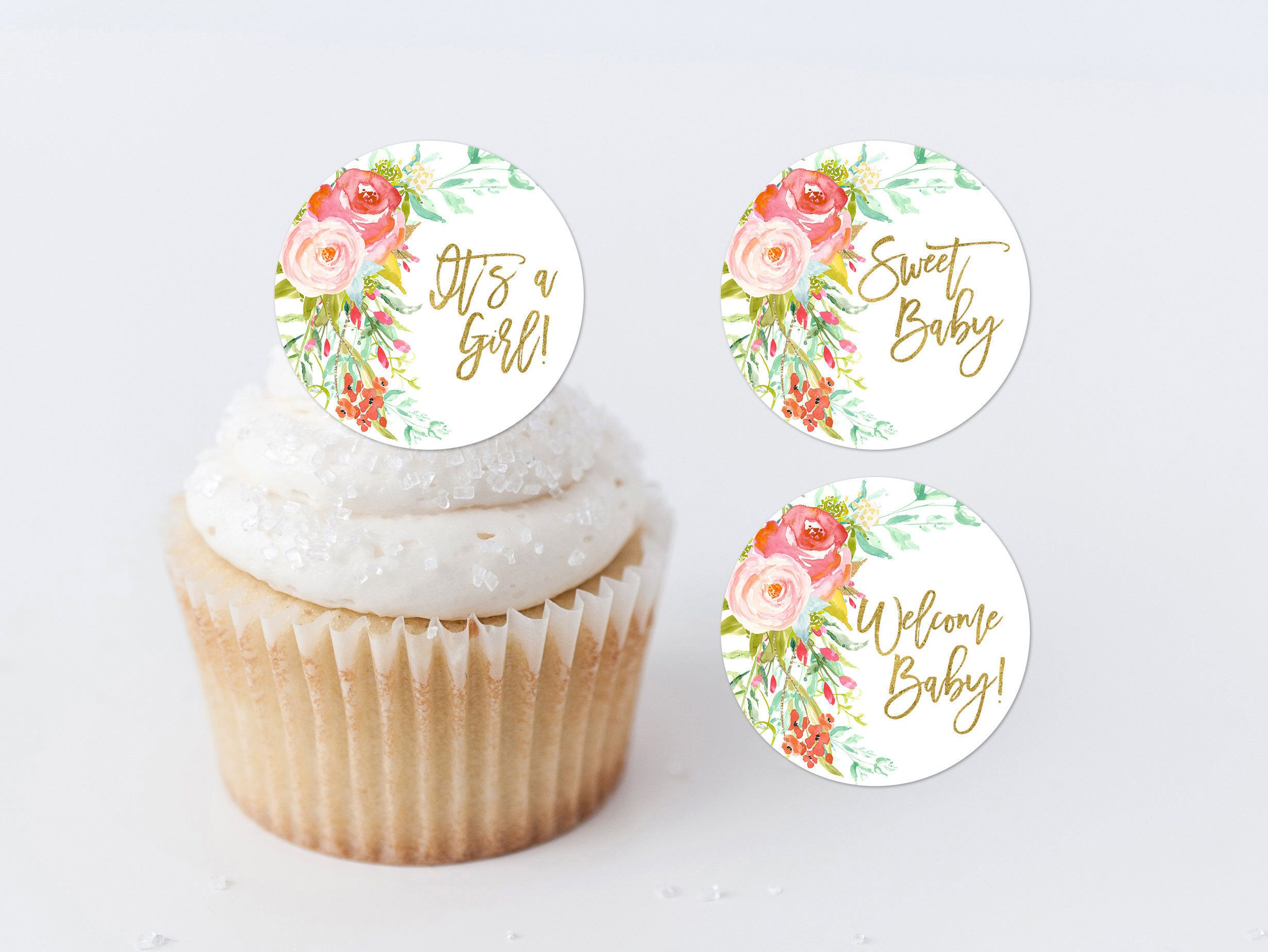 Floral Cupcake Toppers Printable Baby Shower Cupcake Rounds Baby
