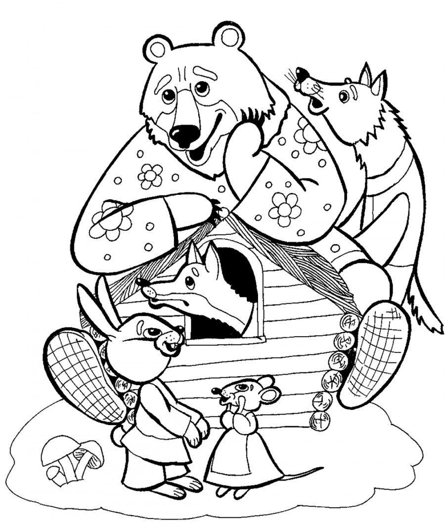медведь в теремке раскраска 399 раскраски раскраски