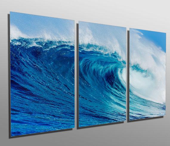 Metal Prints Blue Ocean Wave 3 Panel Split Triptych Wall Art