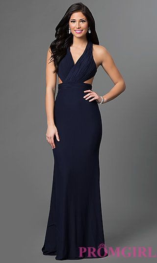 Low V Neck Long Open Back Prom Dress By Alyce At Promgirl Prom