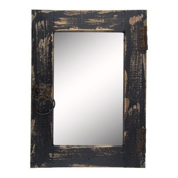 intensify the elegance of your home with distressed black asher wall mirror boasting a distressed black cabinet door shape with metal hinge details and a