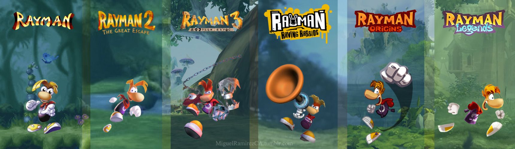 Evolution of Rayman (by Miguel Ramirez)