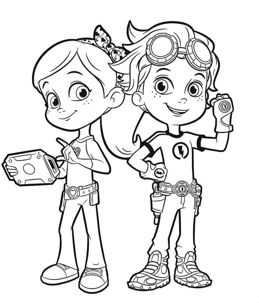 Ruby And Rusty Rivets Coloring Page Cartoon Coloring Pages Cute