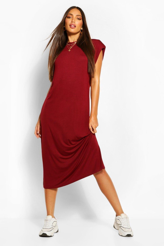Tall Shoulder Pad Midi Dress Boohoo In 2021 Red Midi Dress Midi Dress Dresses [ 1500 x 1000 Pixel ]