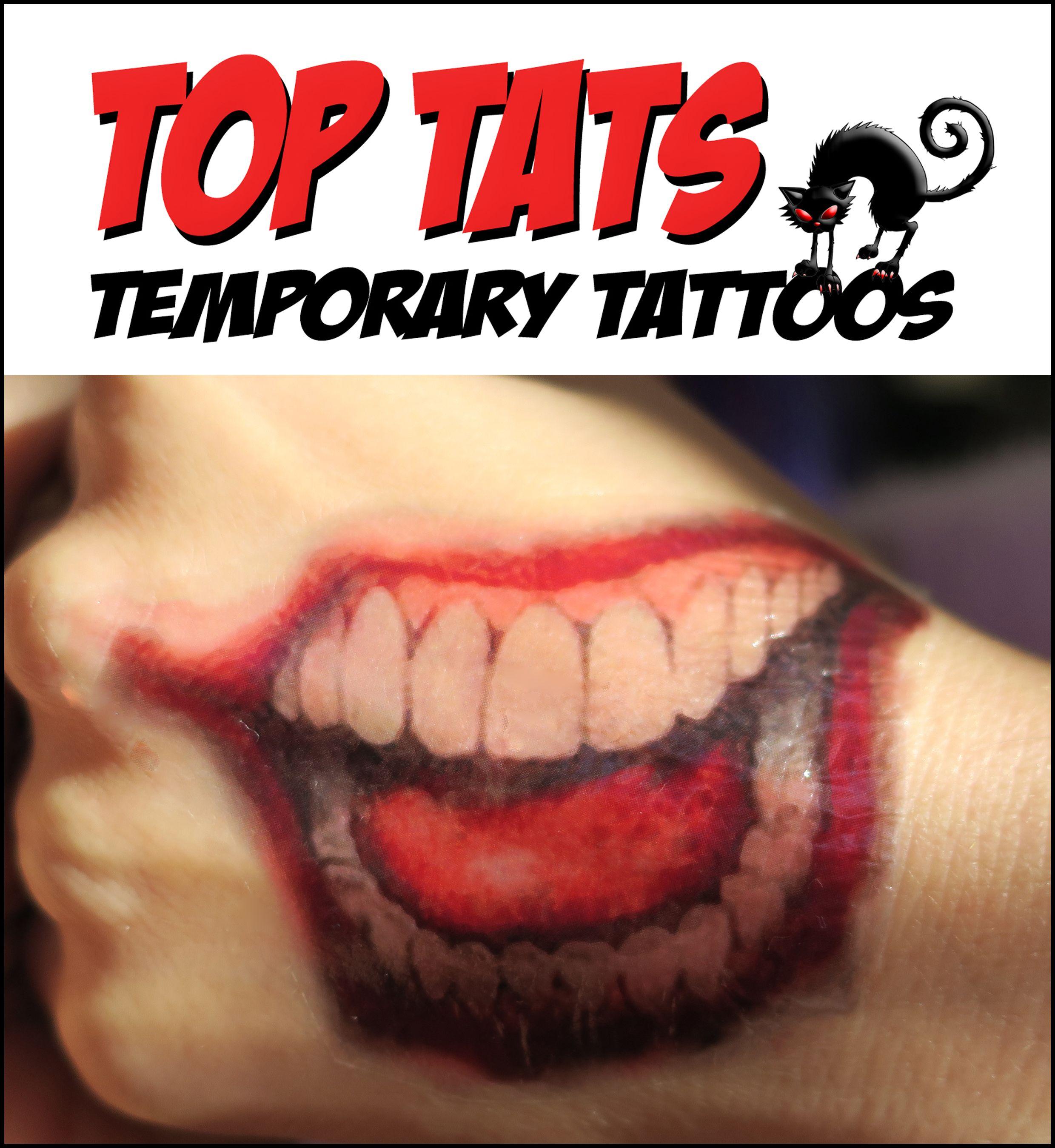 Joker Mouth Hand Tattoo Halloween Cosplay Adult Kids Joker