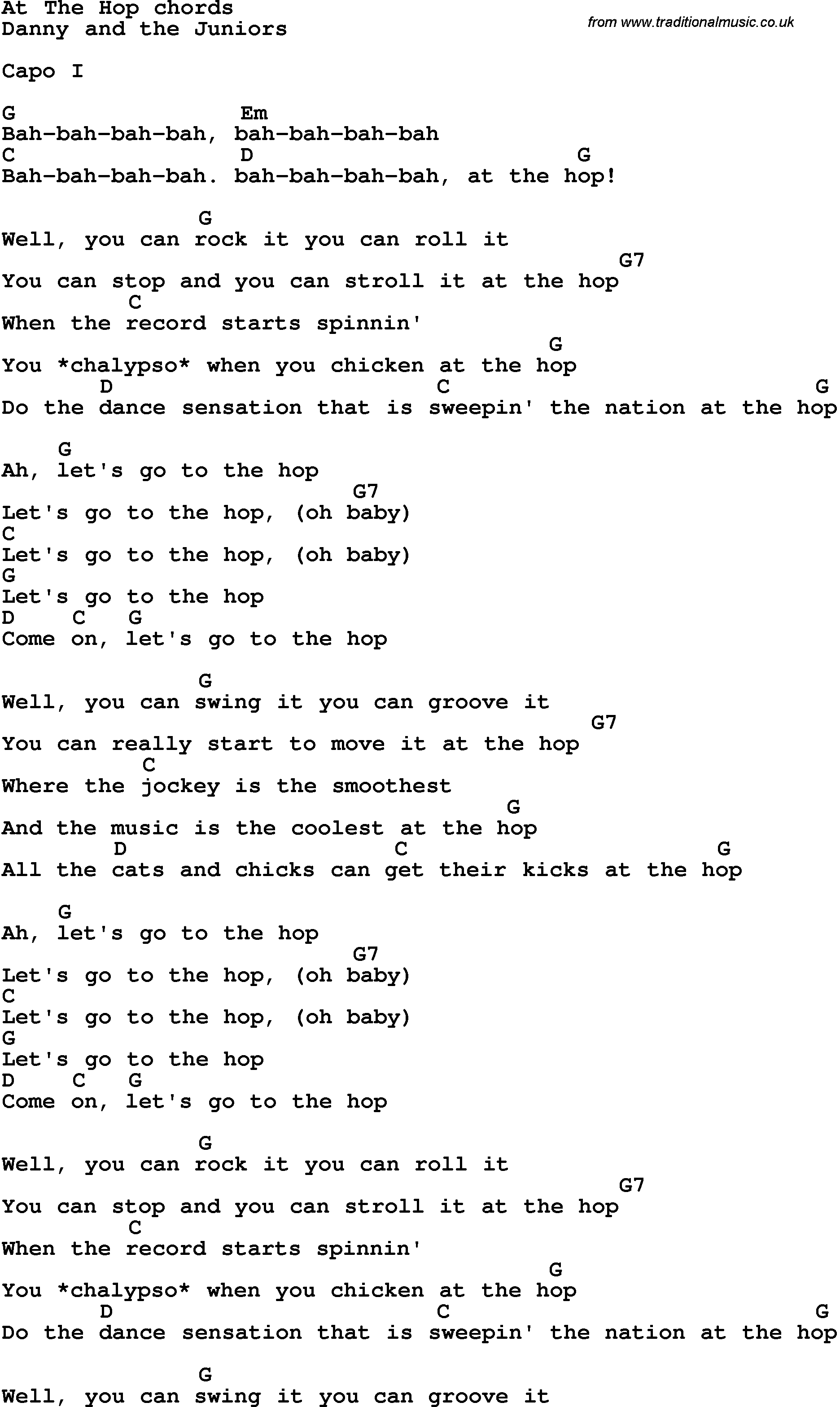 Song Lyrics With Guitar Chords For At The Hop Beginner Guitar