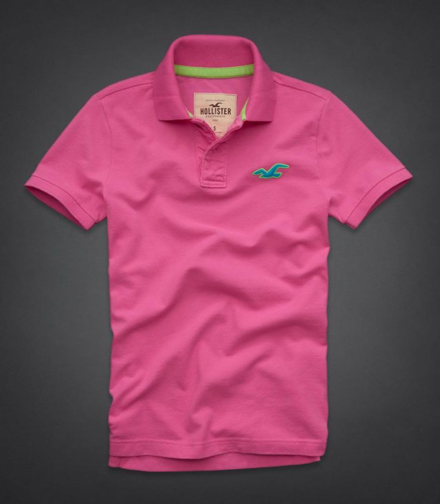 Polo shirt design editor - New Short Sleeve Mens Pink Blue Polo Large