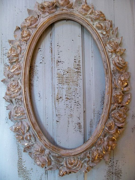 Vintage ornate rose frame distressed pink by AnitaSperoDesign, $130.00