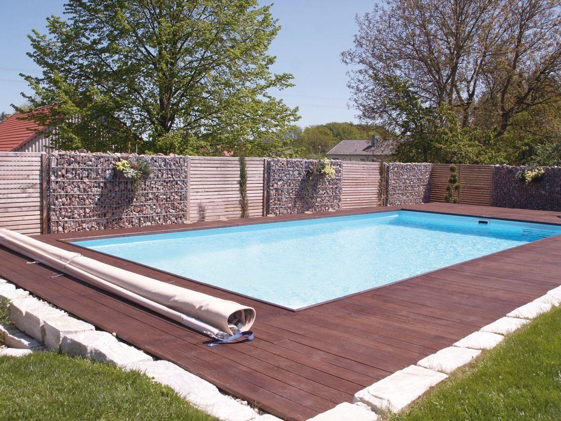 Gabione als sichtschutz am pool garten - Sichtschutz pool ...