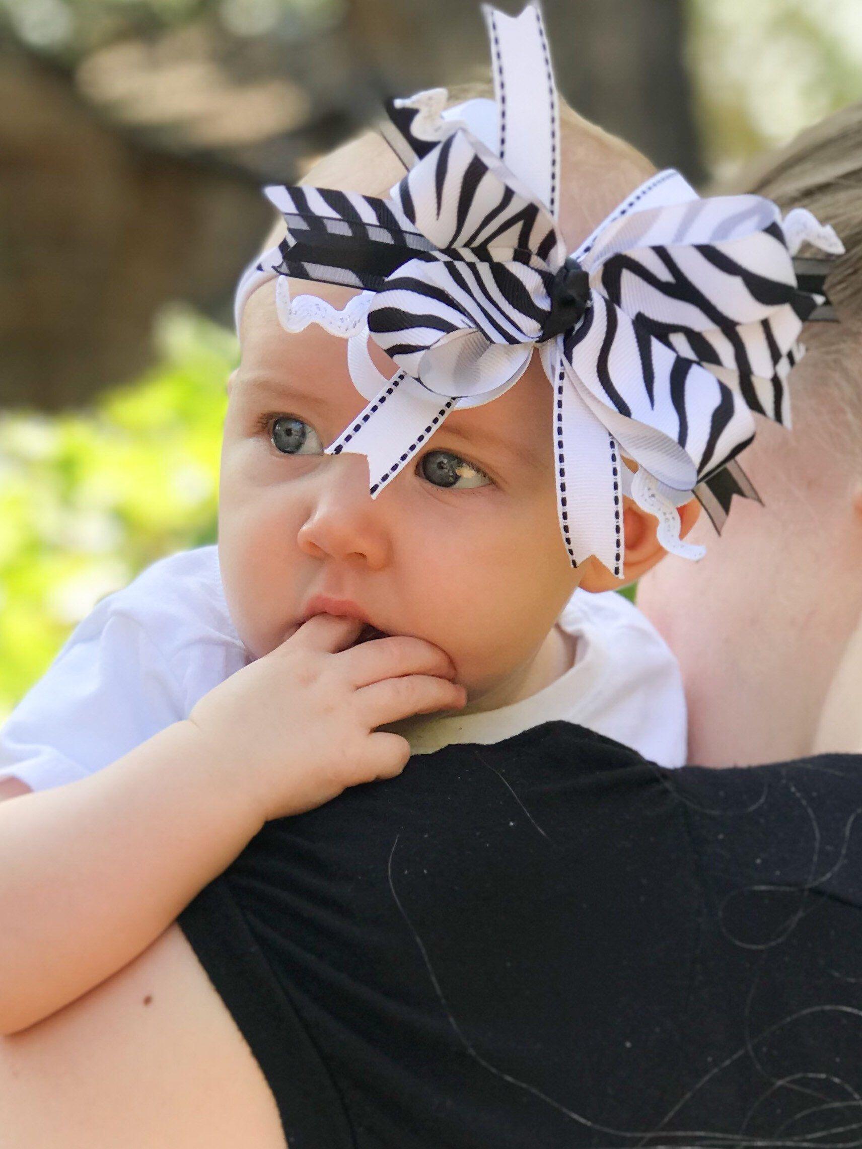 Ivory Lace Headband Baby Bow Headband Fabric and Lace Bow Nylon Baby Headband Baby Girl Shower Gift Newborn Photo Prop Toddler Bows